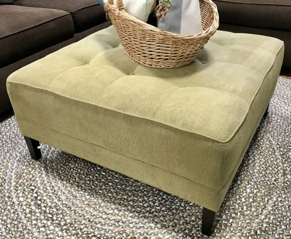 Ethan Allen Tufted Chartreuse Ottoman