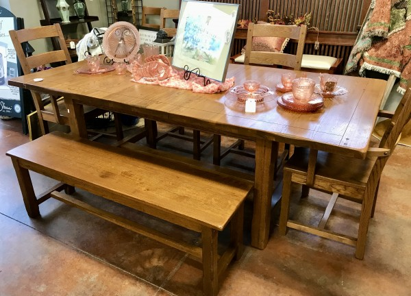 OAK Farm Dining Set w/ Bench & 6 Chairs & 2 Leaves