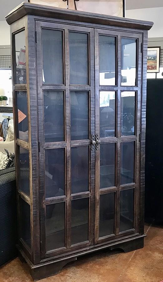 Tall 2 Glass Door Window Pane Cabinet W Shelves