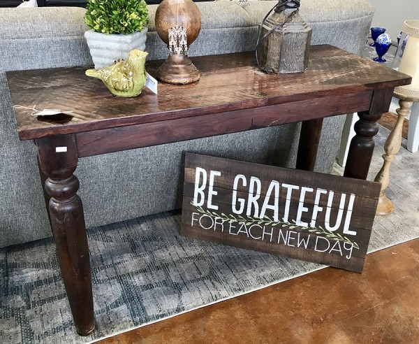 Rustic Sofa Table W/ Hammered Texture Top