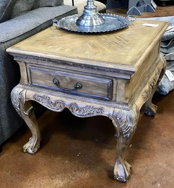 Light Wood End Table W/ Claw Feet 28