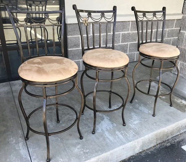 Set of 3 Swivel Bar Stools w/ Faux Suede Seat