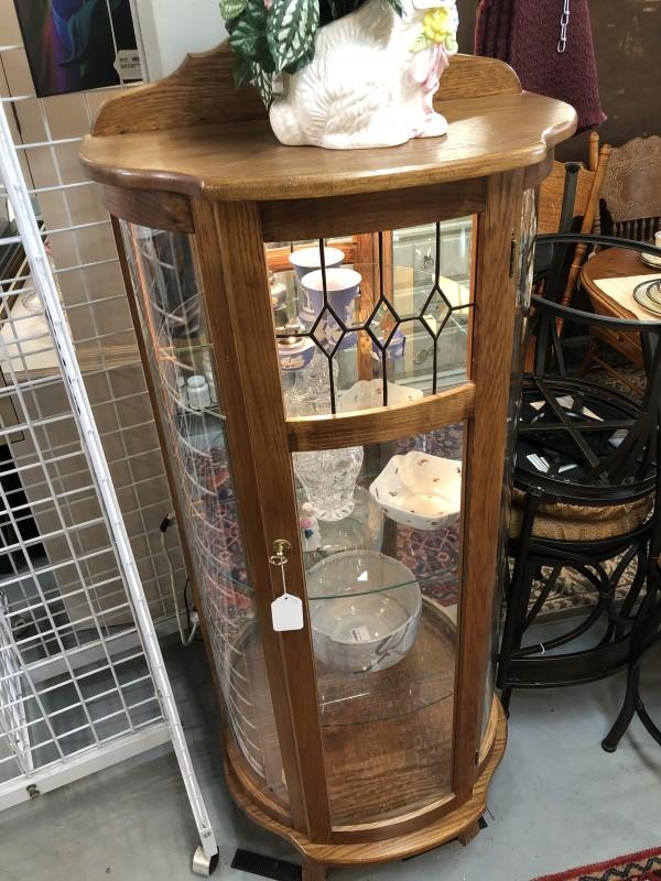Oak Half Round Glass Curio