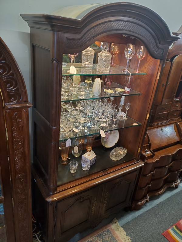 Wood Bar Cabinet Lighted Mirrored