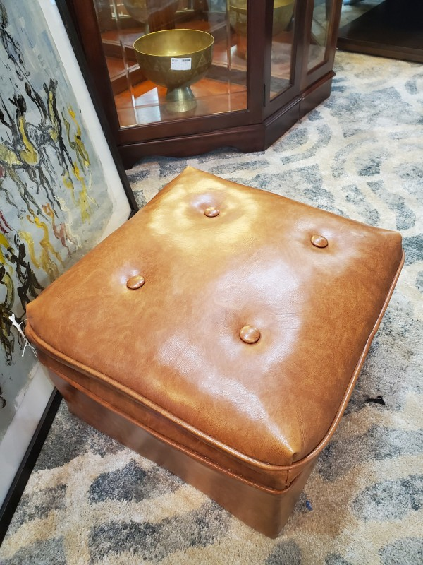 Ottoman Small Brown Leather Top Wood Base