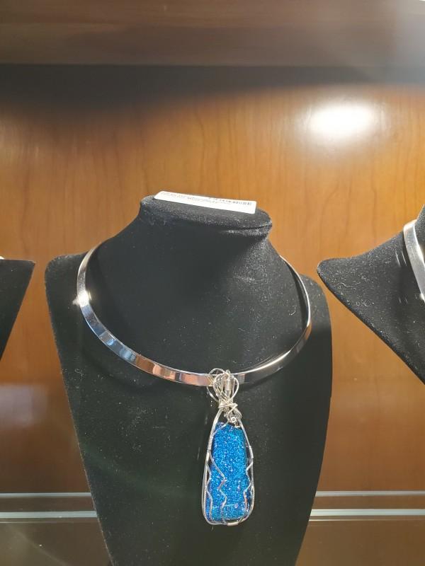 NEW Handmade Fused Dichroic Blue  Glass