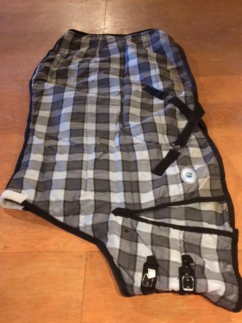 Liner/Stable Blanket - Std Neck - Grey/Black Plaid - Rugged Wear - 74