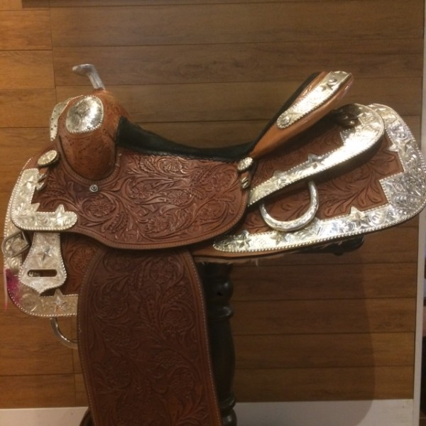 Saddle & Breastcollar - Western - Tan w/ Blk Suede Seat & Silver Accents - 15.5