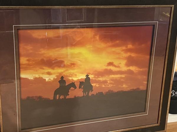 Framed Print - Cowboys in Sunset - Black Frame - 31