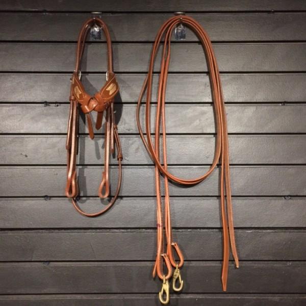 Headstall w/ Reins - Split Reins - Basket Weave w/ Rawhide Detail - Oakbark - Full
