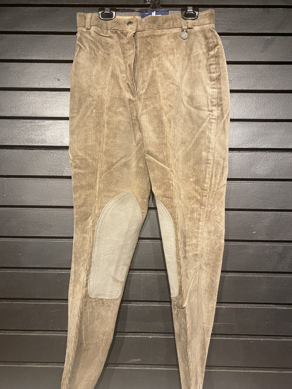 Breeches - Knee Patch - Cord - Front Zip - Dark Tan - Millers - 28