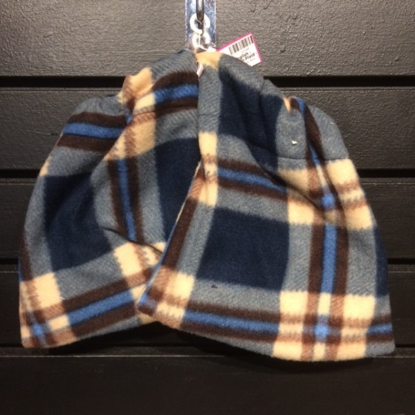 Stirrup Covers - English - Fleece - Navy/Brown Plaid - Queen of Polos