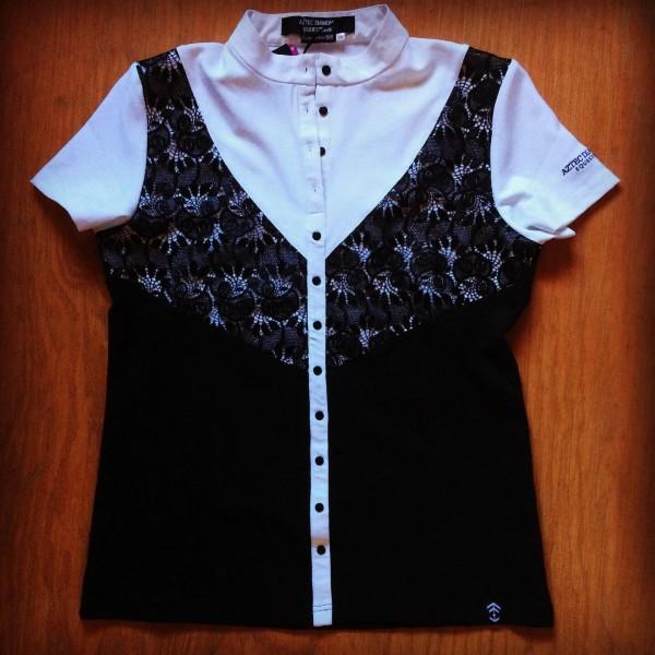 Shirt - Sleeveless - Lace Overlay - White w/ Black - Aztec Diamond -  16UK