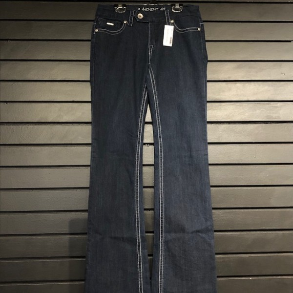 Jeans - Bootcut w/ Stretch - Dark Wash w/ Embroidered Pockets/Buttons - Carelli - 28