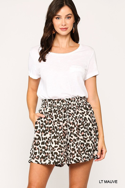 Leopard Printed Side Pocket Shorts