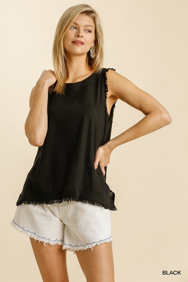 Linen Blend Back Button Down Black