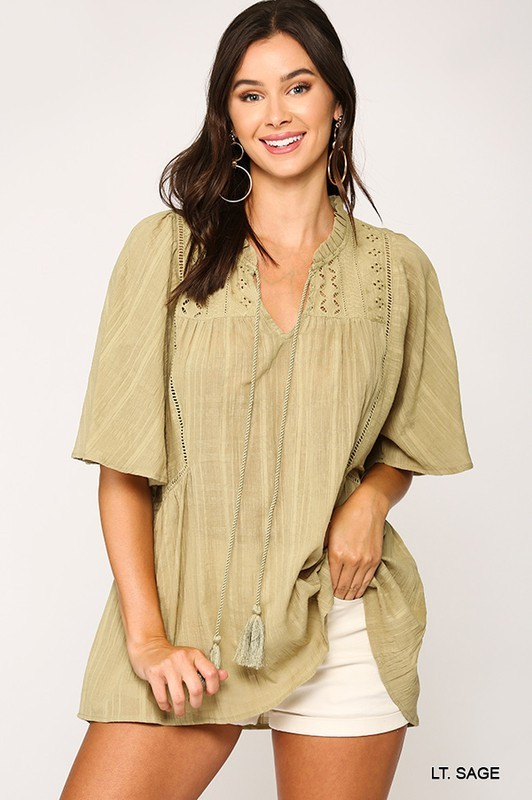 Textured Frilled Tunic Top
