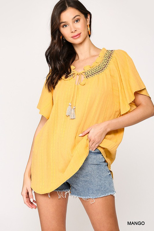 Embroidered Smocked Peasant Top