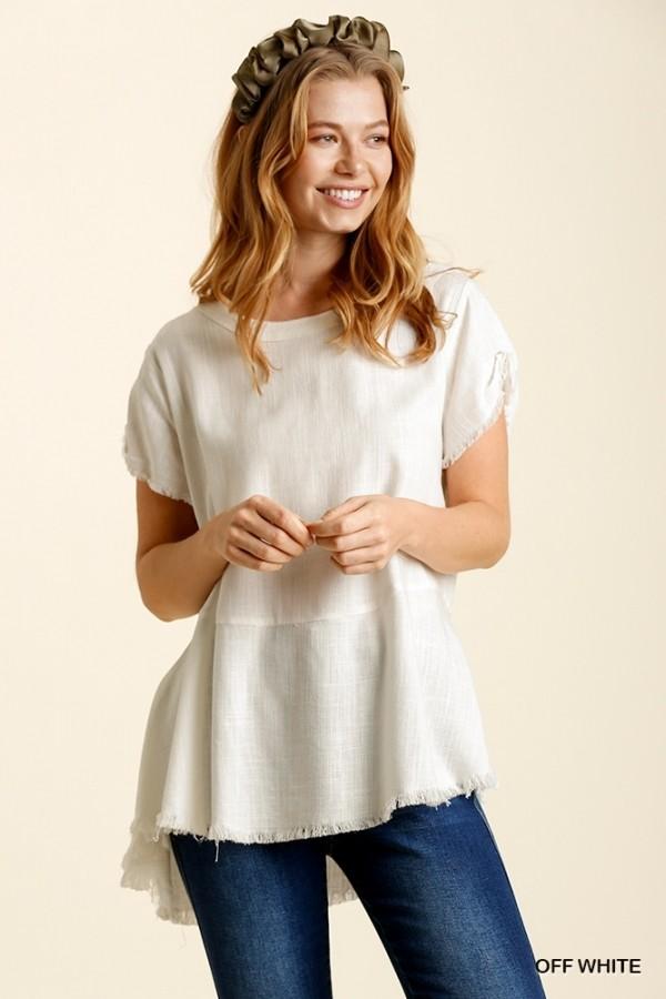 Linen Blend Round Neck Short Sleeve Top